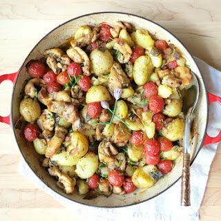 Chicken Thigh Casserole with New Potatoes and Tomatoes