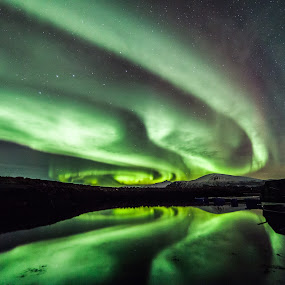 aurora swirl by Benny Høynes - Landscapes Starscapes ( water, northernlights, aurora borealis, sea, norway, colours )