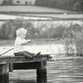 Fishing, baby! [B&W] by Dominic Lemoine Photography - Babies & Children Children Candids ( farmland, pier, lake, fishing, baby, bnw, toddler )