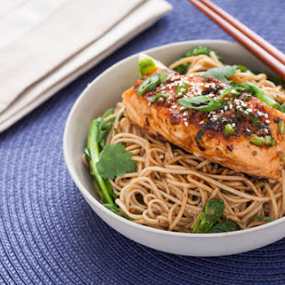Ginger-Soy Glazed Salmon with Broccoli Rabe & Soba Noodles