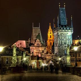 Charles Bridge - Prague  by Anton Donev - Buildings & Architecture Bridges & Suspended Structures ( old, ancient, mystical, fairy-tall, karlov, vltava, nightscene, castle, night, charles, bridge, prague, city,  )