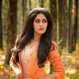 Beauty and Nature by Saheli Mukherjee - People Fashion ( orange, model, fashion, woman, forest, gown, portrait )
