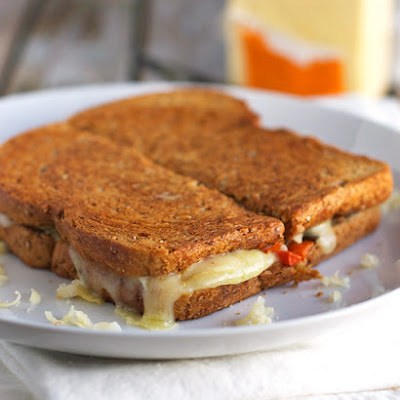 Fontina, Cheddar and Gruyère Grilled Cheese with Roasted Vegetables