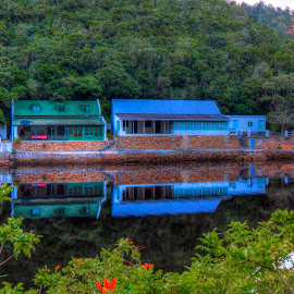 Reflections by Andre Bez - Buildings & Architecture Other Exteriors ( holiday, mountain, reflections, house, river )