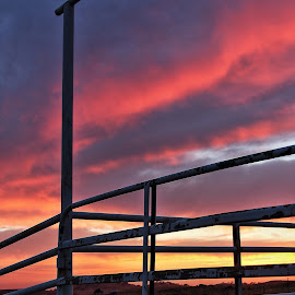 Cattle Pens 5 by Cheryl Petretti - Novices Only Landscapes ( mariposa, sunset, cattle pens, cowboy up!, fire in the sky )