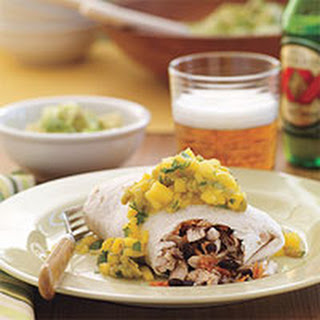 Grilled Chicken Burritos with Mango Salsa