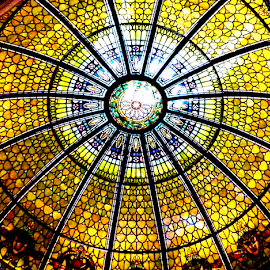 Arboretum Dome by Leah Zisserson - Buildings & Architecture Architectural Detail ( ceiling, dome, yellow, stained glass, north carolina, Architecture, Ceilings, Ceiling, Buildings, Building )