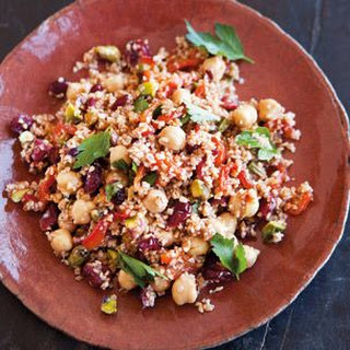 Bulgur Salad with Roasted Peppers, Chickpeas and Pistachios