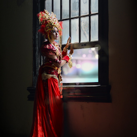 Open The Window of Hope by Franky Go - People Fashion ( model, concept, fashion, red, female, indonesia, traditional )