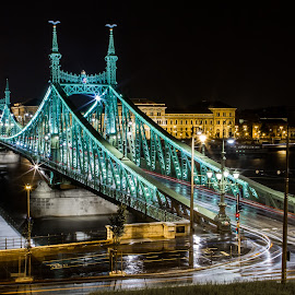 Liberty Bridge & Budapest by night by Sebastièn Petri - City,  Street & Park  Night ( liberty, hungary, enlightened, budapest, night, historical, bridge )