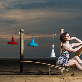 Modern Classic by Ella Jade - People Fashion ( lamps, model, sunset, beach, landscape )