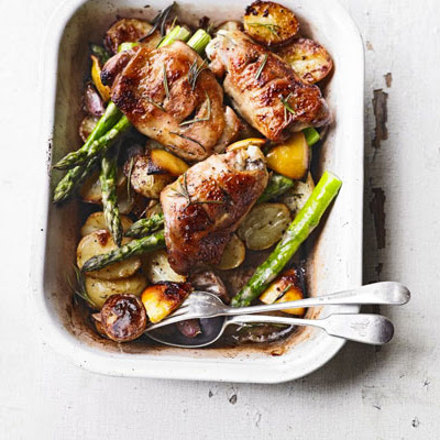 Rosemary Roast Chicken Thighs, New Potatoes, Asparagus & Garlic