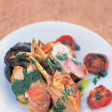 Tray-baked Lamb With Aubergines, Tomatoes, Olives, Garlic & Mint Oil