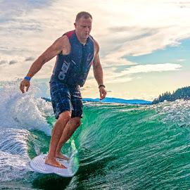 by Richard Duerksen - Sports & Fitness Watersports ( surfinghayden lake, wake surfing )