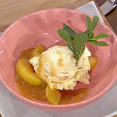 Peachy Bourbon Ice Cream with Caramel Sauce