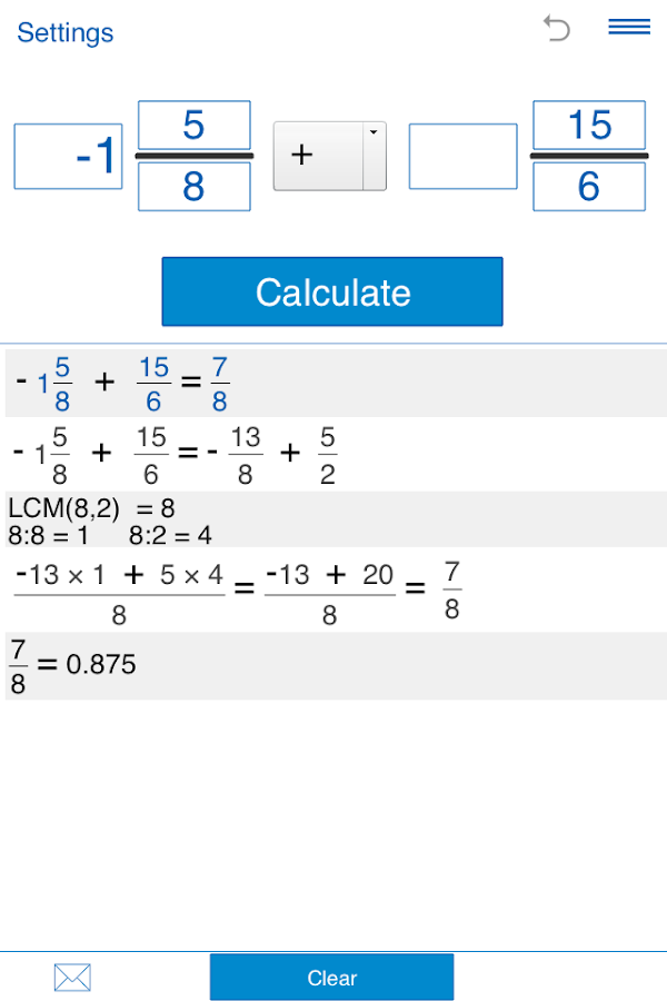 Fraction calculator Screenshot 2