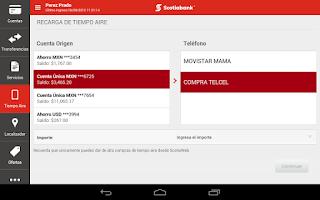 Screenshot of ScotiaMóvil Tablet