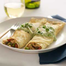 Salmon Crepes With Creamy Sage Pesto