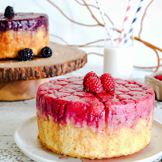 Raspberry & Blackberry almond upside down cakes