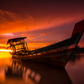 Shipwreck by Ade Noverzan - Transportation Boats ( shipwreck, sunset, twilight, beach, dusk )