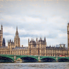 Houses of Parliament by Roy Branford - Digital Art Places ( impressionist, buildings, artistic, topaz labs, photoshop )