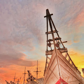 Sunset at Old horbour sunda kelapa by Barry Allan - Transportation Boats