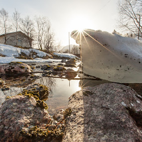 Ice and water by Benny Høynes - Nature Up Close Water ( ice, sunshine, rocks, river, norway )