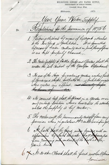 Yan Yean Water Supply, Regulations for the Summer of 1875-76. Click on thumbnail for details and transcript.