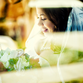 Bride in the Car by Ina Pandora - Wedding Bride ( picture, car, window, happy, inside, through, smile, bride, smiling )