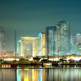 harbor square by Zab Coloma - City,  Street & Park  Skylines ( water, lights, building, reflection, manila bay, philippines, yacth )