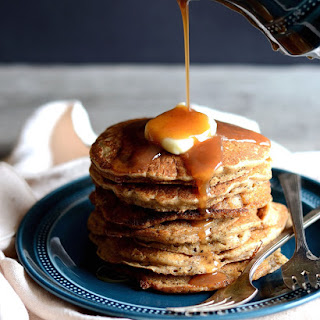 Dirty Chai Pancakes with Spiced Caramel Sauce