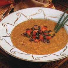 Lentil Soup with Mustard Oil and Tomato-Chive Topping
