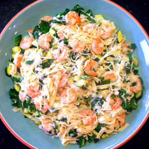 Lemon Linguine with Shrimp Zucchini and Spinach