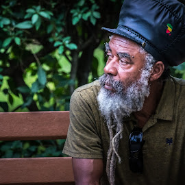 Quick Bench Rest by Kevin Tessier - People Portraits of Men ( dreadlocks, portrait of man, african american portrait, portrait, street photography, Travel, People, Lifestyle, Culture,  )