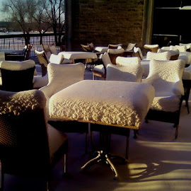 Veranda by Michael Griffin - Artistic Objects Furniture ( fort riley, winter, cold, snow, veranda, kansas )