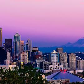 Sunset in Seattle by Randy Sampson - City,  Street & Park  Skylines