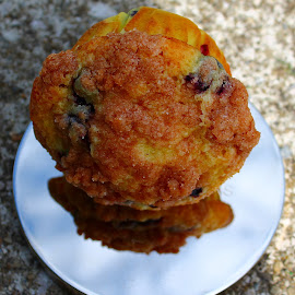 by Christine Warner - Food & Drink Cooking & Baking ( macro, reflection, novice, novices only, muffin, close up )