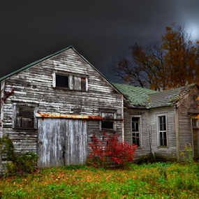 Abandoned in the  Night by Julie Dant - Buildings & Architecture Decaying & Abandoned ( abandoned schools, old schools, wooden schools, abandoned buiildings )