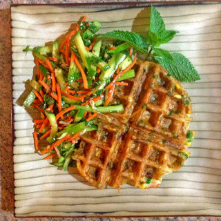 Thai Shrimp Waffle with Spring Salad
