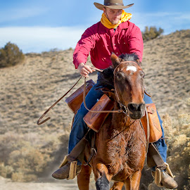 Determined to Ride Hard by M K - Sports & Fitness Other Sports ( gallop, horseback, person, cowboy, rider, pony express, pony express rider, horse, run, hat, animal )