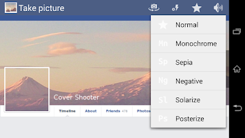 Screenshot of Facebook Timeline Cover Camera
