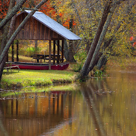 Watson Mill Bridge State Park by Tracy Harp - Landscapes Waterscapes ( fall, canoes, picnic )