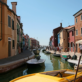 Burano Colours by Renée Politzer Nass - City,  Street & Park  Vistas ( water, boat, channel, heat, middle of the day )