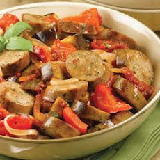 Sundried Tomato Chicken Sausage Ragu with Roasted Eggplant and Tomato