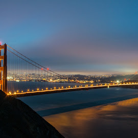 Golden Gate Night by Diane Loos - Buildings & Architecture Bridges & Suspended Structures ( skyline, golden gate bridge, night photography, san francisco, nightscape )