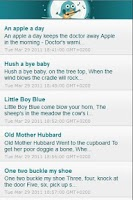 Screenshot of Baby Lyrics: nursery rhymes