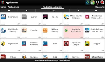 Screenshot of Belgian applications