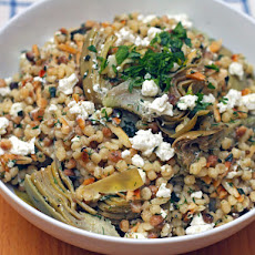 Fregola with Artichokes, Feta, Almonds, and Herbs