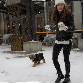 Owners that Look Like their Dogs... by Kelli Tinker - People Street & Candids ( portland, snow, weather, rx1r, reference places, 2014_02, winter conditions )