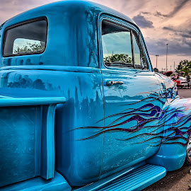 Sunset Flames by Ron Meyers - Transportation Automobiles